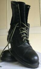 Mens black hide military boots UK 9