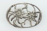 Vintage Sterling Silver 925 Floral Oval Brooch Pin