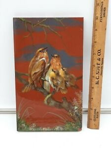"""Antique 19th C Minton Hollins Clay Hand Painted Bird Tile -10 x 6"""" 1 of 2 Tiles"""