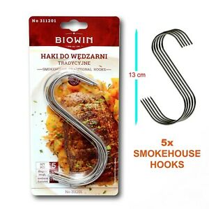 """6"""" BUTCHERS HOOKS for MEAT SMOKE HOUSE PACK OF 5 Stainless steel"""
