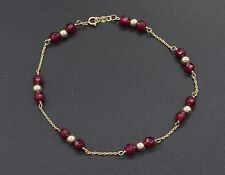 NEW 14K Solid Yellow Gold Natural Ruby Round Bead Bracelet