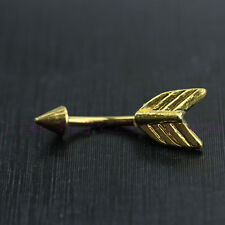 Gold Feathers Arrow Tail Belly Button Dangle Navel Ring Body Piercing Jewelry