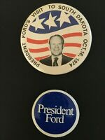 Lot of 2 1970s Vintage President Ford buttons Visit to South Dakota 10/16/1974