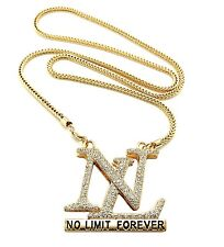 """NEW ICED OUT """" NEW NO LIMIT FOREVER """" PENDANT & 36"""" 4mm FRANCO CHAIN.."""