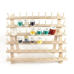 UK 60 Spool Wood Sewing Thread Rack Stand Storage Organizer Embroidery Holder
