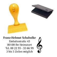 Adressenstempel « NOTENSCHLÜSSEL » mit Kissen - Firmenstempel - Musiklehrer
