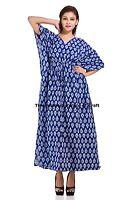 Indian Floral Kaftan Women Fashion Dress Tunic Maxi Gown Bohemian Cotton Caftan