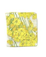 Vintage 60s Burlington Full Double Flat Sheet Bright Yellow Flowers 100% Cotton