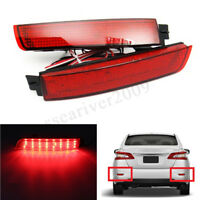 2x LED Bumper Reflector Tail Brake Light For Nissan Juke Murano Infinit Red