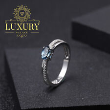 Natural London Blue Topaz Solid 925 Sterling Silver Romantic Engagement Rings