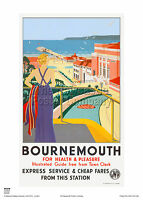 BOURNEMOUTH DECO HOLIDAY RETRO POSTER VINTAGE RAILWAY TRAVEL ADVERTISING ART