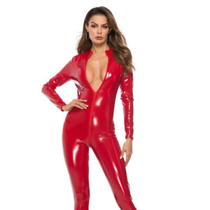 Wet Look Faux Leath Clubwear Zip Up Erotic Lingerie Tights Unitard Catsuit W2064