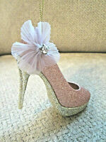 """NEW! tagged Christmas ornament pink glitter ladys slipper high heel shoe 5"""""""
