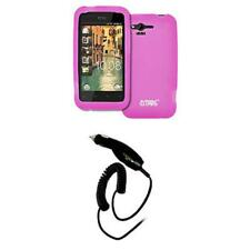 Smart Chip Car Charger+Hot Pink Soft Silicone Case Cover for HTC Rhyme