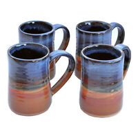 "MUGS - ""COPPER CANYON"" HANDMADE POTTERY MUG SET - 17 OZ TANKARDS - SET OF FOUR"