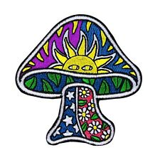 Dan Morris Sun Mushroom Iron-On Patch Psychedelic Nature Craft Apparel Applique