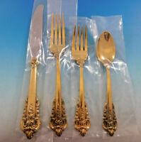 Grande Baroque Gold Wallace Sterling Silver Flatware Set Service 35 pcs Vermeil