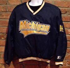 Michigan Wolverines Starter Jacket (Med.) Windbreaker Pull-Over Coat V Neck Vtg