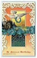 Postcard A Joyous Birthday c1912 by Heymann embossed 1917  G25