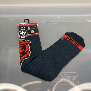 Chicago Bears Socks '47 Brand Large Blue Men's 9-13 Women's 10-12. NFL Football
