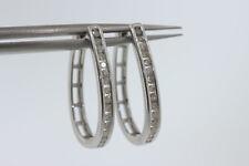 NEW Sterling Silver .66ct Round Diamond Oval Hoop Snap Closure Earrings