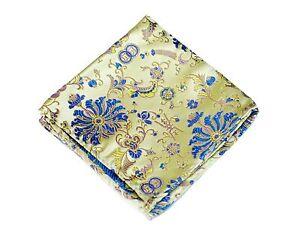 Lord R Colton Masterworks Pocket Square - Belvoir Garden Yellow Blue Silk New