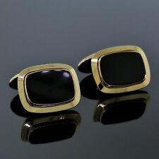 Yellow Gold Black Onyx Rectangle Cufflinks Tiffany & Co. Germany Men's 14K