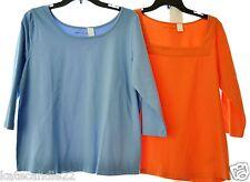 Lot of 2 orange blue Women's Jessica London3/4 Sleeve T-Shirt Top plus size 12