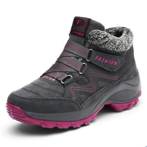 Womens Winter Plus Velvet Warm Snow Boots Outdoor Hiking High-Top Shoes Feng8