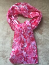 Women's Very Elegant Design Pink Roses Scarf 100% Polyester Made in Korea
