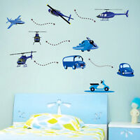 Removable Wall Stickers Home Nursery Decor Children Boys Vinyl Decal Car Plane