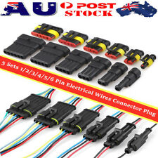 5 Sets 1/2/3/4/5/6 Pin Car Waterproof Electrical Wire Connector Plug Terminals