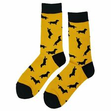 NWT Wiener Dog Dress Socks Novelty Men 8-12 Yellow Fun Sockfly