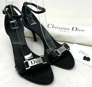 Authentic Christian Dior Trotter Logo Sandals Heels #36 US 6.5 Black Silver