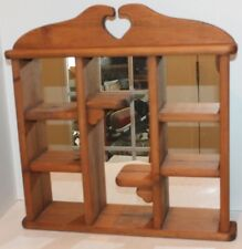 Vtg Wood Collectible Display Wall Hanging Curio  Shadow Box-Mirror-Hand Made-EUC