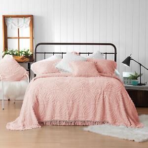 Kalia Pink Bedspread Set   Bianca   Cotton chenille   Intricate Plaited Tassels