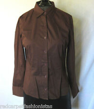 Brown Fitted Shirt Van Heusen Career Office Catering School Size Small NWOT