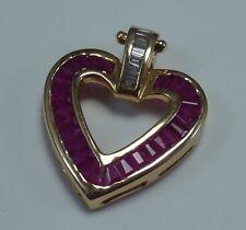 14K Yellow Gold Heart Shaped Ruby and Diamond  Pendant
