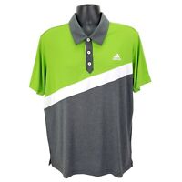 Adidas Golf Climalite Mens Polo Shirt Size Large L Short Sleeve Green White Gray