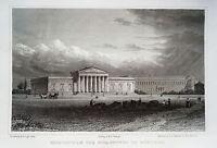 München Glyptothek und Pinakothek  Bayern seltener alter Stahlstich 1840