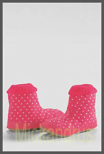 Nwt Lands' End Girls Flannel Pull-on Slippers Pink Coral Dot Size 3 Youth Us