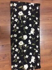 """VALANCE BLACK FLORAL WHITE WITH GREEN 104"""" X 16"""" CUSTOM MADE BEAUTIFUL CHARM"""