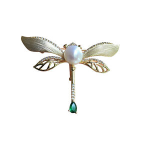 Nice 7.5-8mm Freshwater Pearl Nature White Color lovely Dragonfly Gold Brooch