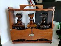 mid century modern amber brown liquor decanters square w/ wood shelf display