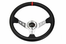 13.5 Steering Wheel For Polaris RZR Can-Am Maverick Deep Dish Silver Red Stitch