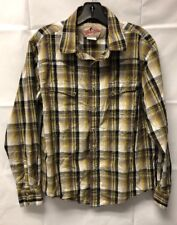 Wrangler Western Long Sleeve Pearl Snap Yellow Plaid Mens Button Shirt M Medium