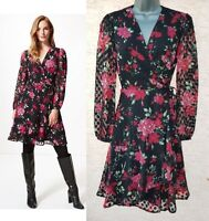 Ladies M&S Wrap Dress Spot Floral Print Chiffon Shift Vintage Party Size 6-24