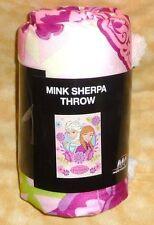 Disney Frozen elsa & anna mink sherpa throw blanket 46 x 60 pink white purple