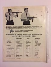 Comparison Pamphlet of S&W Model 76, M-3 Greasegun, & Thompson Submachine Gun