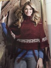 KNITTING PATTERN Ladies Patterned Fringed Poncho Roll Neck Wendy PATTERN